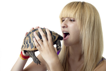 Girl Eating a Turtle