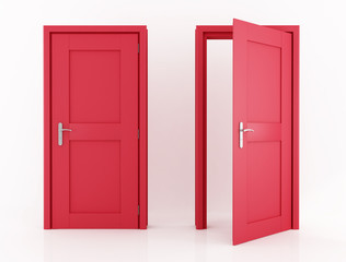red door with clipping path