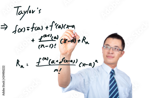 young teacher drawing a Mathematical formula