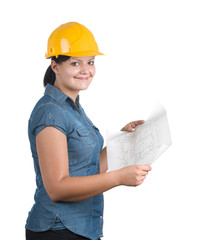 Architect woman with blueprint