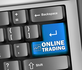 "Keyboard Illustration ""Online Trading"""