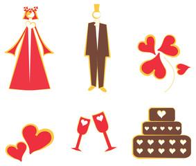 Isolated Wedding decoration logo, icons couple, cake, hearts, fl