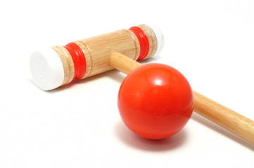 Orange Croquet Mallet and Ball