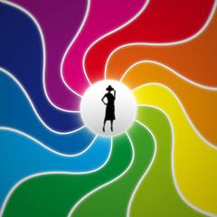 Donna su fondo a spirale multicolore