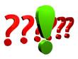 Grünes Ausrufezeichen vor einer Reihe von roten Fragezeichen