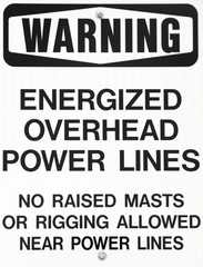 Power lines warning sign for sailboats