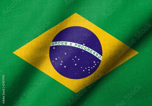 3D Flag of Brazil waving
