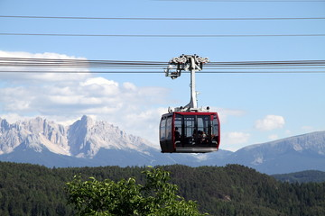 A cablecar in the Dolomite Mountains of Italy