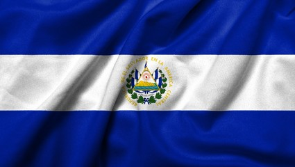 3D Flag of  El Salvador satin