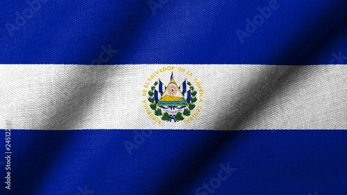 3D Flag of  El Salvador waving