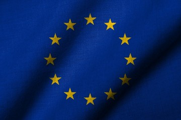 3D Flag of  European Union waving