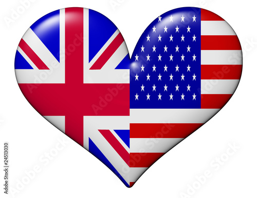 UK and USA heart flag