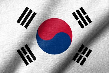 3D Flag of South Korea waving