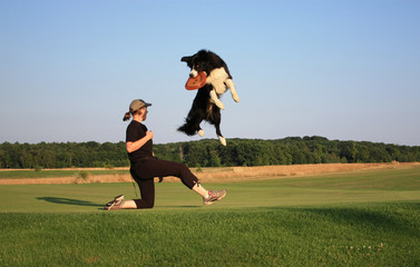 Funny catching Dog Frisbee