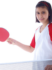 cute girl playing table tennis isolated on white background