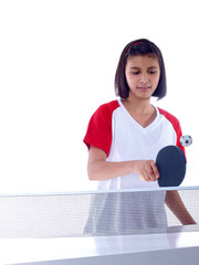 cute girl playing table tennis missed the ball