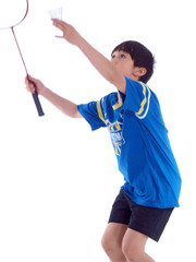 cute boy playing badminton isolated on white background