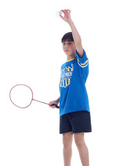 cute boy playing badminton ready to serve