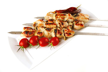 roast shish kebab on white