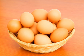 Basket of eggs on the colourful background