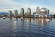 Vancouver Science World skyline from the water of False Creek