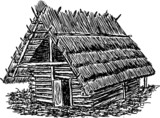 Prehistoric huts of wood and reeds, hand drawing poster