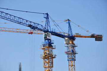 Pair of tower cranes