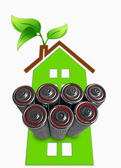 AA size alkaline Batteries with Green House, Concept