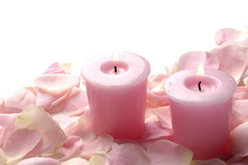 Candle and Roses petals