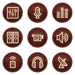 Media web icons, chocolate buttons