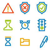 Administration icons, colour contour series poster