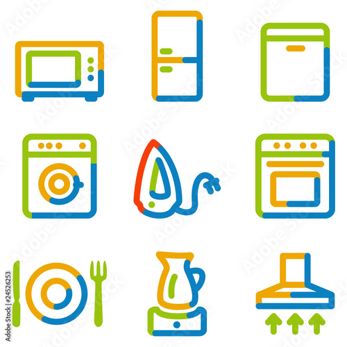 Home appliances icons, color contour series