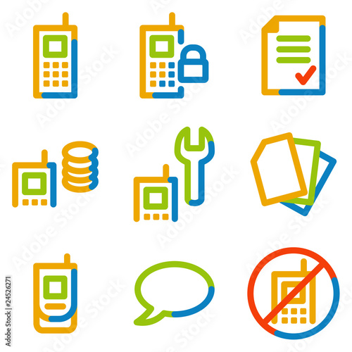Mobile phone icons set 1, colour contour series