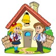 Small school with kids in uniforms
