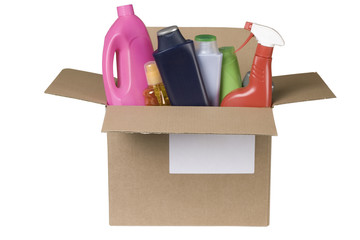 cleaning products in cardboard box