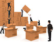 Business people piling up boxes