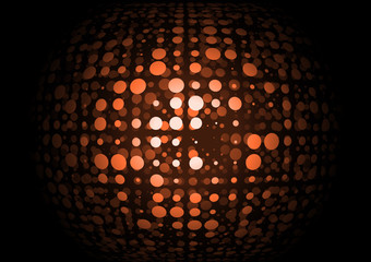 Vector orange retro techno doted orb
