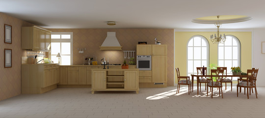 3d render classic dining room and kitchen