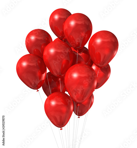 red balloons group isolated on white - 24529870