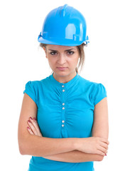 young woman in turquoise hardhat and blouse