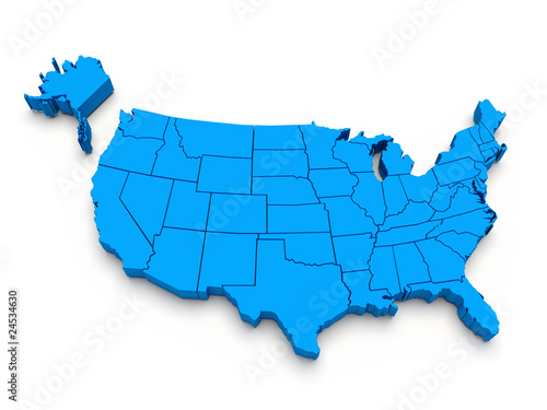 Blue map of USA. 3d
