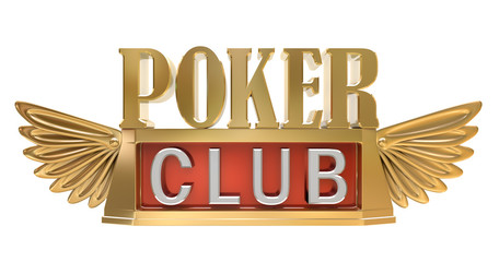Poker club - gold emblem isolated ob white