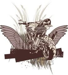 Motorcycle Background with Wings