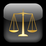 SCALES OF JUSTICE Web Button (Law Legal Advice Gold Icon) poster