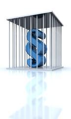 3D Paragraph hinter Gittern - Blau - freigestellt