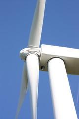 Close up detail of a wind turbine vertical