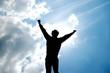 jubelnder Mann vor Sonne