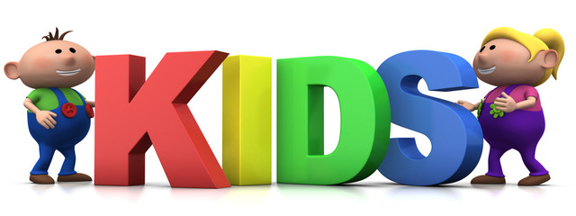 kids with KIDS letters