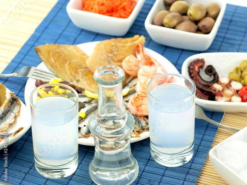 Seafood and ouzo