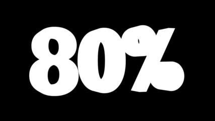 Texto de porcentaje en movimiento: 80, 85